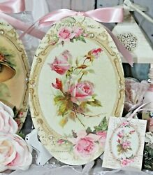 Shabby Chic French Country Cottage Style Wall Decor. Sign Pink French Roses