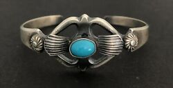 Navajo Sterling Turquoise Cuff Bracelet Signed M