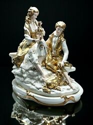 Sculpture In Capodimonte Porcelain Couple With Dog Signed Bedin Flowerpot