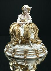 Sculpture In Capodimonte Porcelain Lady French Signed Bedin