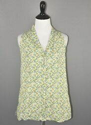 Talbots 49 Yellow Green Floral Racerback Sleeveless Button Front Blouse Size 6