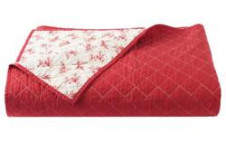 Chaps Hudson River Valley Cream Red Calico Floral Coverlet - F/q