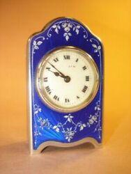 Sterling And Blue Enamel With Floral - Miniature Zenith Swiss Clock