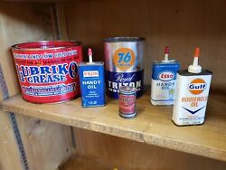Vintage Oil Cans Esso Gulf Exxon 76 Union Lubriko Grease Oil Can Lot Full Cans