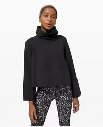 Lululemon Retreat Yourself Pullover Black Cowl Neck Bell Sleeve Pullover L/xl
