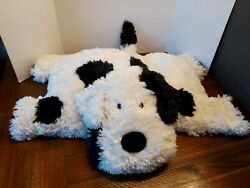 Jellycat Truffles Large Black And White Shaggy Spotted Dog Pillow