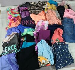 Huge 31 Piece Lot Of Girls Clothes Size 10/12 L Dkny Justice Champion Athletic
