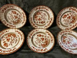 Spode Indian India Tree Copeland England 6 1/2 Bread And Butter Plates Set Of 6