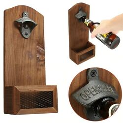 Vintage Wall Mounted Bar Beer Glass Bottle Cap Opener Home Kitchen Accessories