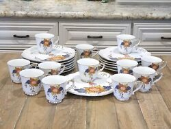 New Vintage Set Of 12 Snack Plates And Cups By Jonas Roberts