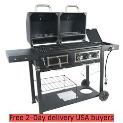 Combo Grill Dual Fuel Gas Charcoal Black With Stainless Steel Cover Bbq