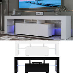 51 High Gloss Tv Unit Cabinet Stand W/led Light Shelves Drawer Home Furniture