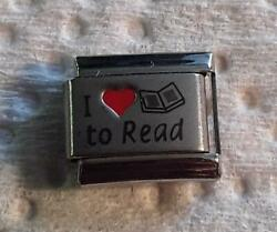 quot;I LOVE RED HEART TO READquot; ON SILVER ITALIAN 9MM CHARM BOOKS NOVELS