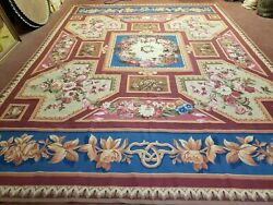 9x12 Aubusson Rug Brand New Bold Colors Blue Red Flat Weave Carpet Wool Handmade