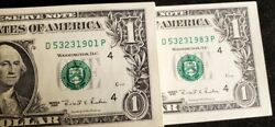83 1995 1 Federal Reserve Note Cleveland Oh Consecutive Choice Unc. Our T1637