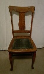 Antique American Golden Oak Leather Seat Chair
