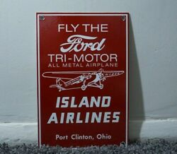 Vintage Ford Island Airlines Porcelain Sign Gas Service Station Oil Ad Rare