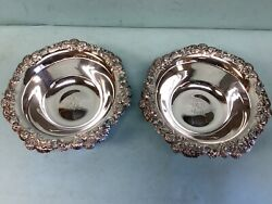 Sterling Silver Pair Of Clover Blossom Pattern Bowls 10andrdquo Diameter