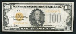 Fr. 2405 1928 100 One Hundred Dollars Gold Certificate Currency Note Xf+ B