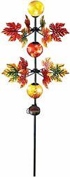 Solar Metal Glass Double Wind Spinner Leaves Outdoor Decor Garden Yard Patio