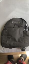Authentic Marc Jacobs Preppy Grey Chrome Nylon Backpack W/ Luggage Tag