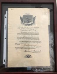 Rare Wwi Eyes Of The Navy Binoculars And Autographed Roosevelt Documents 1918