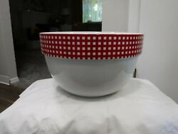 New Crate And Barrel Christmas Large Red White Striped Mixing Bowl 11 Diam 7high