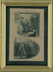 1870and039s 5 National Currency Heathand039s Counterfeit Detector Proof Vignettes