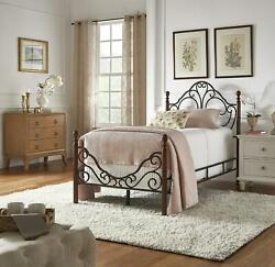 Twin Size Metal Bed Frame Bronze Four Poster Vintage Iron Headboard Footboard