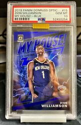 Zion Williamson 2019-20 Optic 63/85 My House Rc Blue Psa 10 Mba Gold Low Pop
