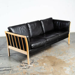 Mid Century Danish Modern Sofa Couch 3 Seater Stouby Worn Leather Black Denmark