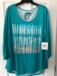 Turquoise Sun Bay Seagull Beachside Shirt Top Size 2x New With Tags