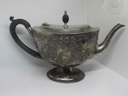 1892 Victorian Antique English Sterling Silver Teapot. 670 Grams. Walker And Hall.