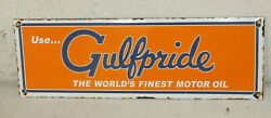 Gulfpride Gulf Oil Porcelain Signs Vintage Style Gas Pump Plate Advertising