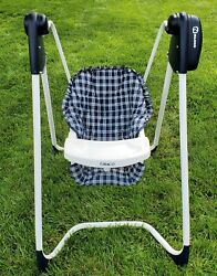 Vintage Graco Baby Swing 1423 Open Top Easy Entry 2-speed Blue Plaid Fabric