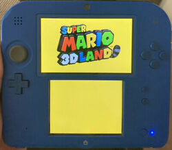 Used Nintendo 2ds Electric Blue Color W/ Super Mario Land 3d Some Scratches