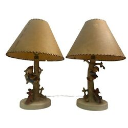 Vintage Hummel Goebel Pair Out Of Danger 44a And 44b Girl Boy In Tree Dog Lamps