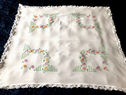Vintage Hand Embroidered Lace White Rayon Tablecloth 31x36 Inches