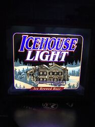 Icehouse Light Beer Light Up Wooden Mirror Sign Plank Road House Miller Brew New