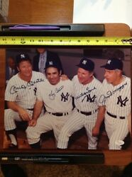 New York Yankees Old Timers Signed 11x14 Jsa Photo Mickey Mantle Joe Dimaggio