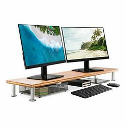 Large Dual Monitor Stand for Computer Screens Solid Bamboo Riser Supports T...