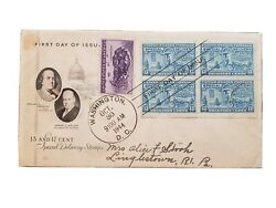 1944 13 Cent Special Delivery Stamp First Day Of Issue Postal Cover, Block Of 4