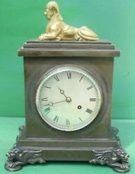 Antique English Hearn London Egyptian Revival 8 Day Fusee Bronze Table Clock