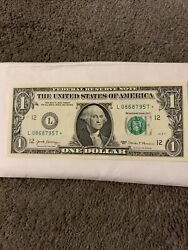 Rare 2017 One Dollar Star Noted Bill, Collectors Item.
