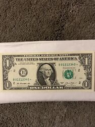 2013 - One Dollar 1 - Star Note Bseries Duplicate Serial Fancy Rare 01212340
