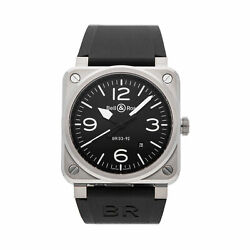 Bell And Ross Br 03-92 Black Auto 42mm Steel Mens Strap Watch Date Br0392-blc-st