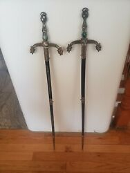 Vintage Lot 2 Double Ruby Eyed Dragon Sword With Crystal