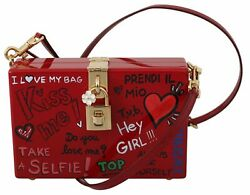 Dolce And Gabbana Bag Women's Hand Painted Wooden Red Box Sicily Leather Purse