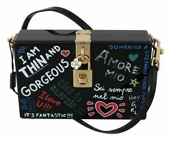 Dolce And Gabbana Bag Women's Hand Painted Wooden Black Box Sicily Leather Purse