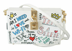 Dolce And Gabbana Bag Women's Hand Painted Wooden White Box Sicily Leather Purse